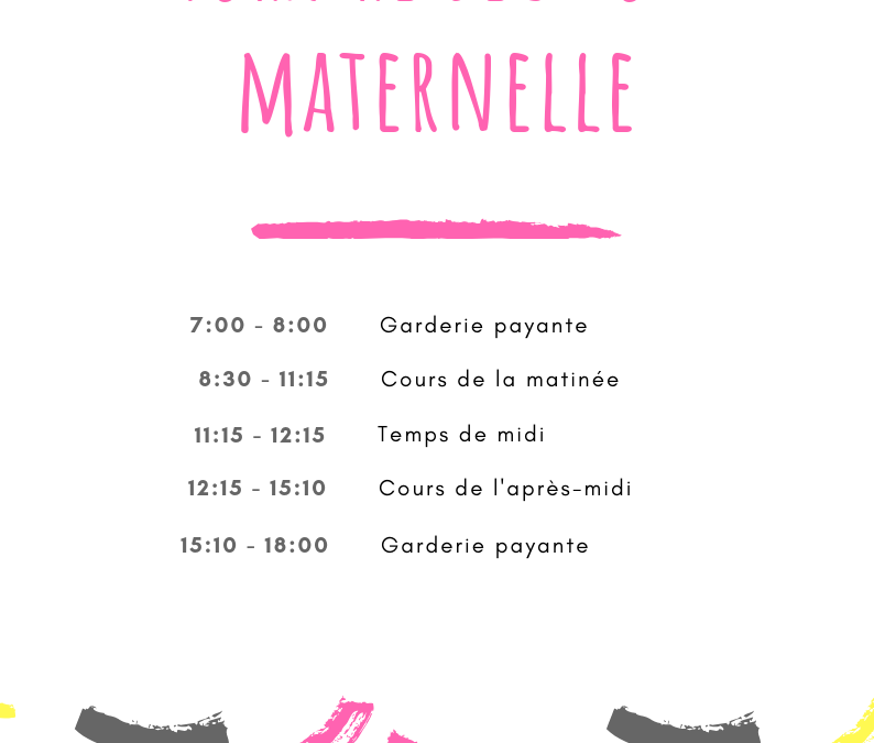 Horaire section maternelle